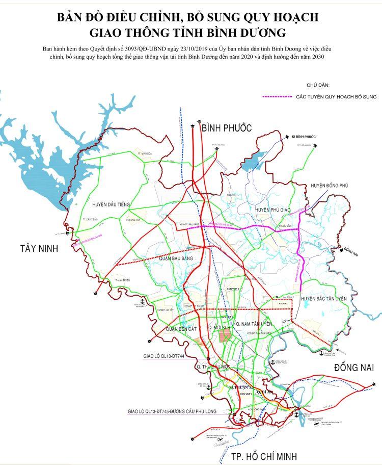 Bản đồ quy hoạch giao thông tại huyện Bàu Bàng