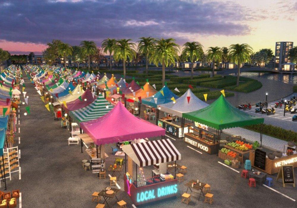 Chợ ngay khu vực lõi Central là 1 hoạt động đặc thù của khu đô thị du lịch