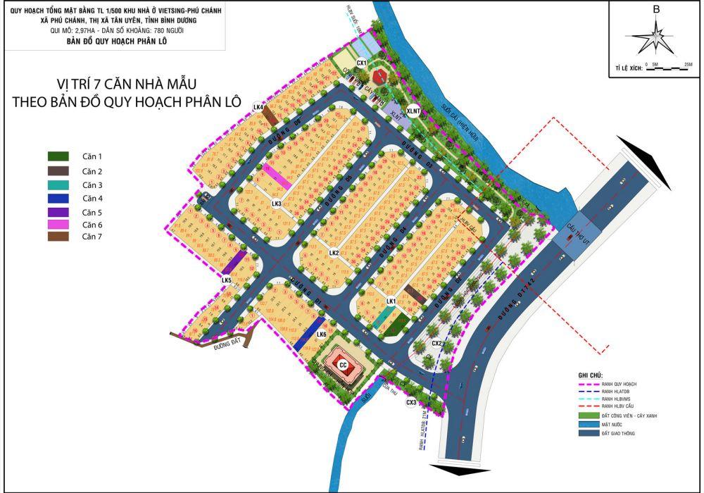 Mặt bằng phân lô dự án đất nền nhà phố VietSing Phú Chánh Bình Dương