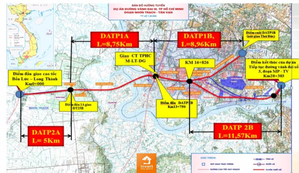 Bản đồ dự án thành phần 2 (đoạn 2A, 2B) thuộc đoạn Tân Vạn – Nhơn Trạch
