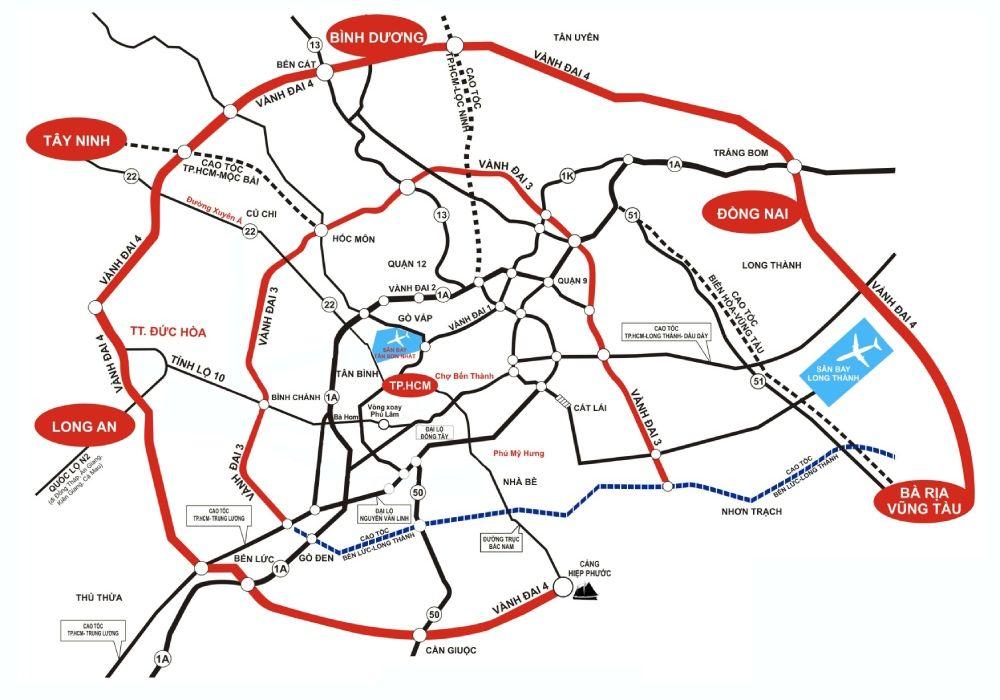 Đường vành đai 4 đi qua 5 tỉnh tiếp giáp Thành phố Hồ Chí Minh