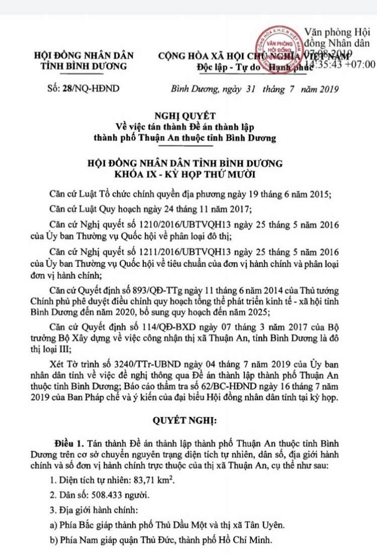 Quyết định Thuận An chính thức lên Thành Phố