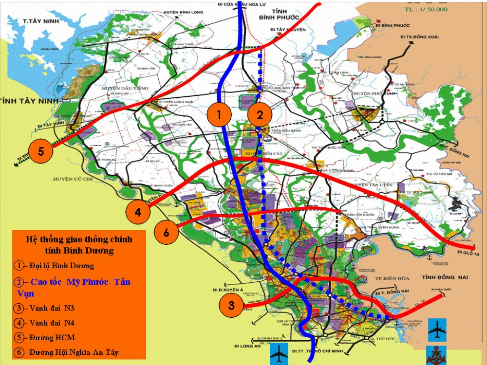 06 tuyến giao thông chính của tỉnh Bình Dương