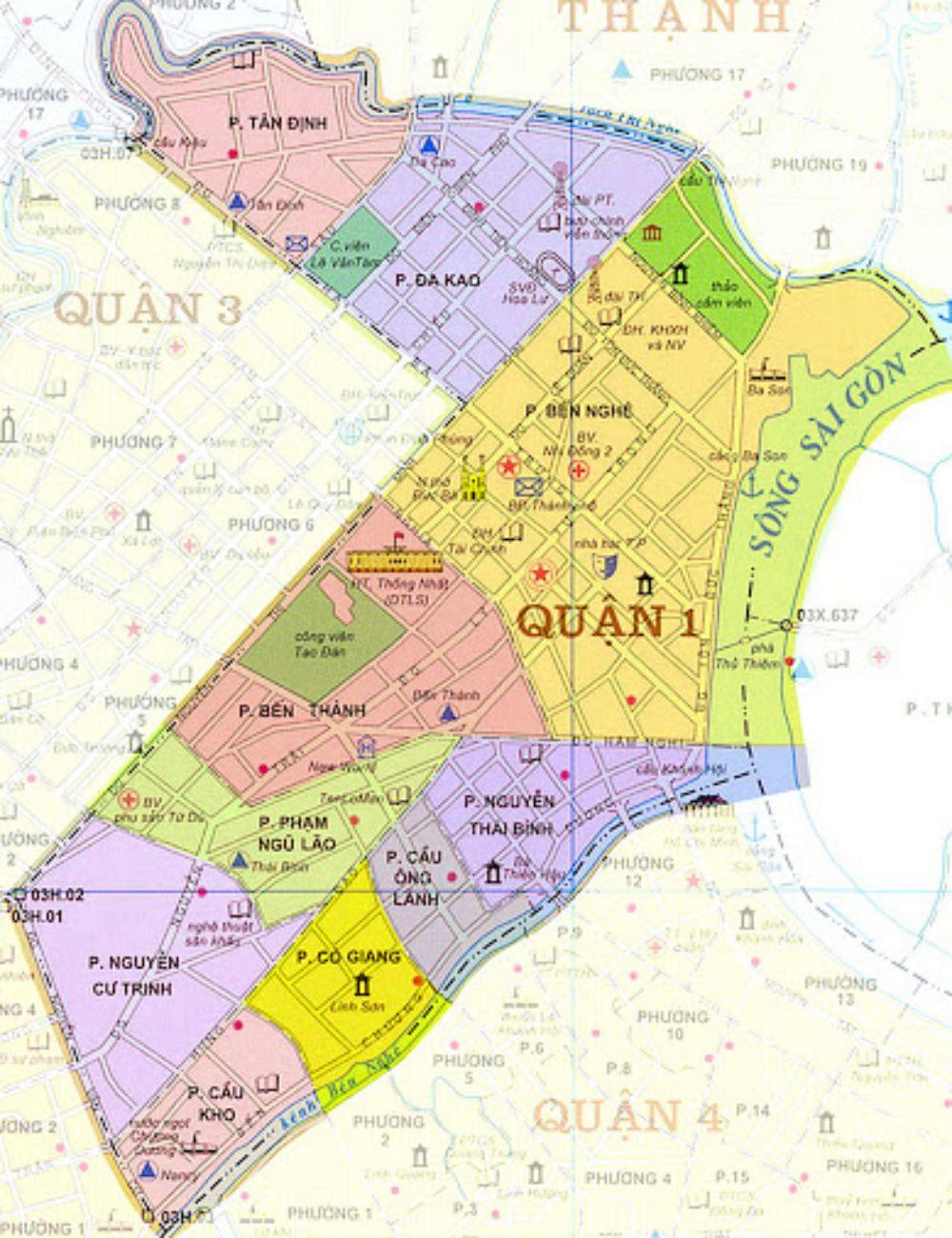Bàn đồ hành chính Quận 1 TPHCM